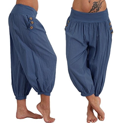 JESFFER Women Elastic Waist Boho Check Pants Baggy Wide Leg Summer Casual Yoga Capris
