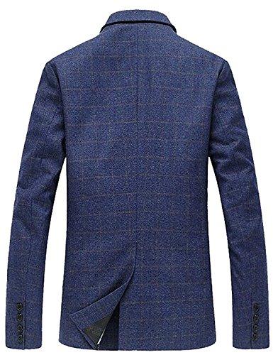 LeNG Mens Leisure Notched Lapel One-Button Blazer Suits Jackets Navy BlueUS 5X-Large