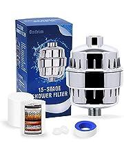 Cadrim Universele douchefilter, douchefilter, 15 niveaus, waterfilter, douchekop, waterfilter met 2 verwisselbare filterpatronen en 1 teflonband tegen kalkchloor zware metalen