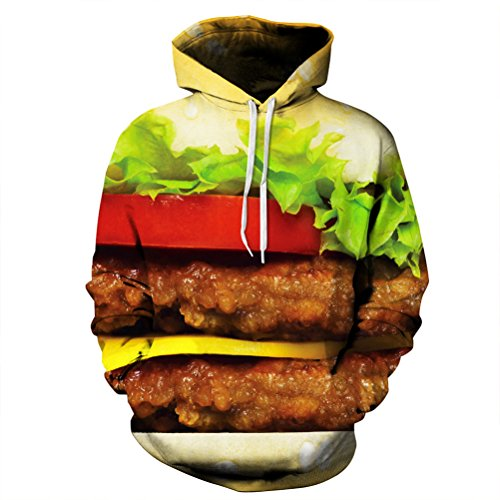 Timeiya Men's Cotton Blend Hooded Sweatshirt Pullover Hamburger Pattern