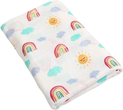 JYCRA - Manta de muselina, transpirable, algodón orgánico, toalla de bebé, manta de recepción, unisex, para niños y niñas, 120 x 120 cm, algodón, Arcoíris., 120 x 120 cm: Amazon.es: Hogar