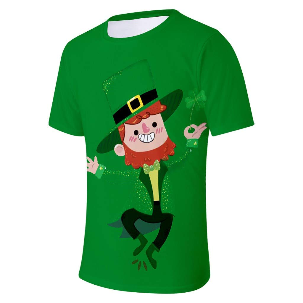 MISYAA St Round Neck Letters Shirt Green Magician Tank Top Only Left Mens Tops Patricks Day Clovers T Shirts for Men