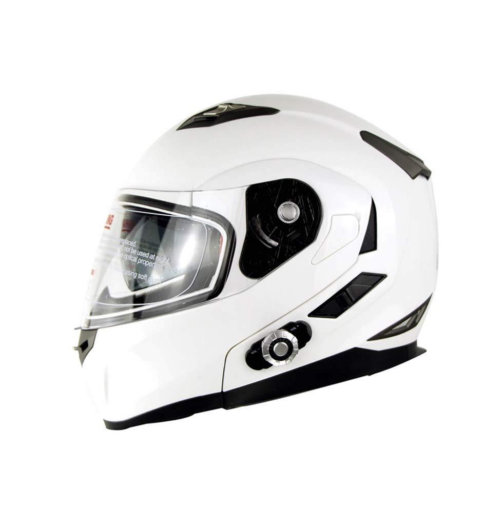 バイク用ヘルメット、サンバイザー付きレーシングバイクヘルメット、成人男性用サンバイザー付き電動フルヘルメット、ブルートゥース Large White B07R1SLP5J
