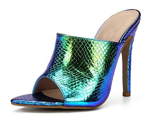 - WSKEISP Womens Snakeskin High Heel Mules Slingback Slip On Sandals Open Toe Heeled Slippers Blue pu US7.5 EU39