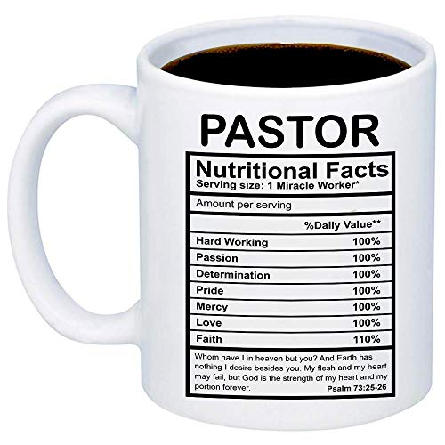MyCozyCups Gifts For Pastor - Pastor Nutritional Facts Coffee Mug - Funny 11oz Cup For Religious Congregation Church Pastors, Youth Pastor, Christians - Appreciation Christmas Gift For -