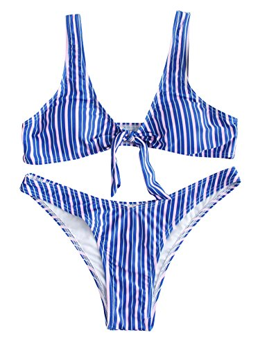 SweatyRocks Women's Sexy Bikini Swimsuit Striped Tie Knot Fr