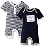Burt's Bees Baby Boys' Short Sleeve Rompers 2-Pack, 100% Organic Cotton One-Piece Coverall, Midnight Stripe/Solid, 6-9 Months