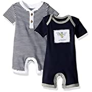 Burt's Bees Baby Boys' Short Sleeve Rompers 2-Pack, 100% Organic Cotton One-Piece Coverall, Midnight Stripe/Solid, Newborn