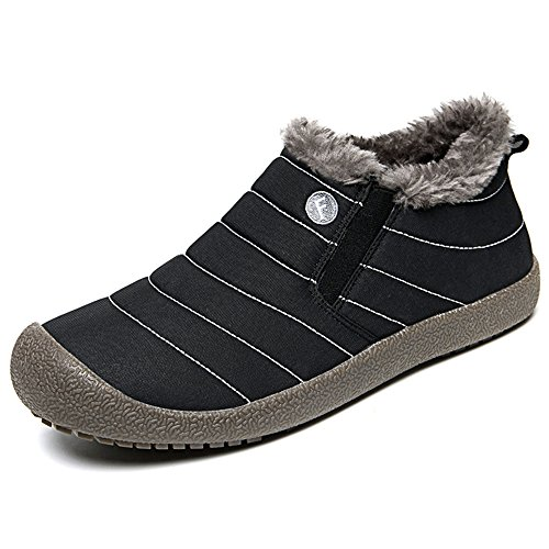 SITAILE Snow Boots, Women Men Fur Lined Waterproof Winter Outdoor Slippers Slip On Ankle Snow Booties Sneakers, Black-Low Top 39 (Stripe Side Mens Boots)