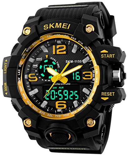Gosasa Big Dial Digital Watch S SHOCK Men Military Army Watch Water Resistant LED Sports Watches (Dial Titanium Water Resistant Watch)
