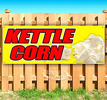 Store Fresh Kettle Corn 13 oz Heavy Duty Vinyl Banner Sign with Metal Grommets Advertising Flag, New Many Sizes Available