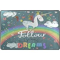 U LIFE Cute Unicorn Rainbow Follow Your Dreams Large Area Rug Runner Floor Mat Carpet for Entrance Way Doorway Living Room Bedroom Kitchen Office 36 x 24 & 72 x 48 Inch 3 x 2 & 6 x 4 Feet