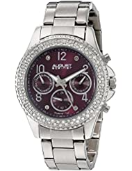 August Steiner Womens AS8136SSPU Silver Multifunction Quartz Watch with Burgundy Dial and Silver Bracelet