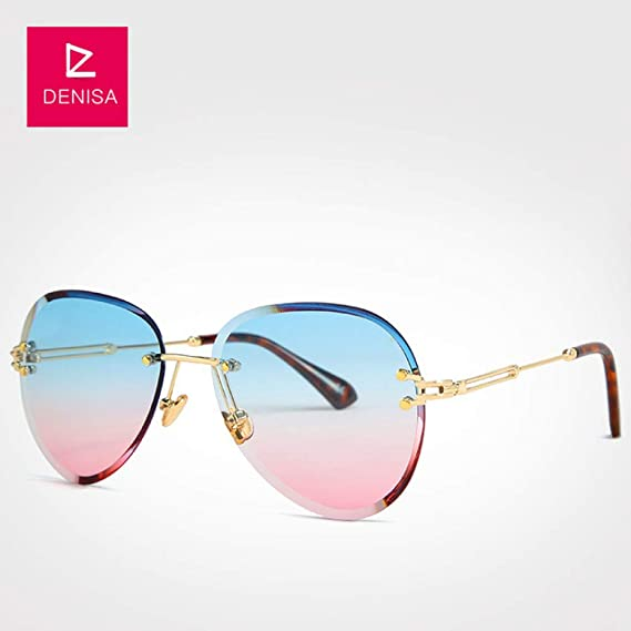Yangjing-hl Gafas de Sol sin Montura Azules de Moda Mujer ...