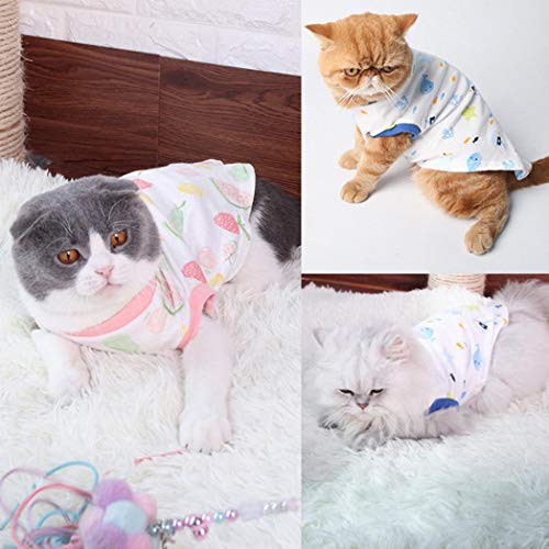 TeDUnaxxme Pet Clothes Casual Cat Kitten Spring Autumn Fruit Print Soft Cotton Vest T-Shirt -