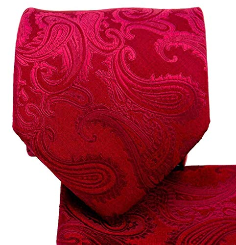 Men's Paisley Necktie Set (Burgundy) #600-G