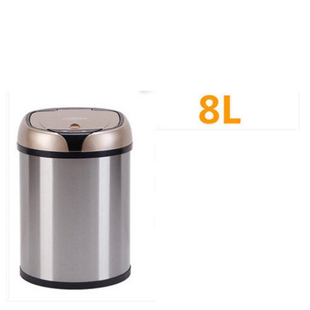 自動ごみ箱ゴミ箱ごみ廃棄物ビンでき蓋キッチンステンレス製屋内ラウンドタッチレス | モーションセンサー | 27 cm × 24 cm 、 36 cm × 24 cm 、 45 cm × 24 cm | シャンパン、赤、白、グリーン、シルバー、シルバー、 8 l B07BXW747C