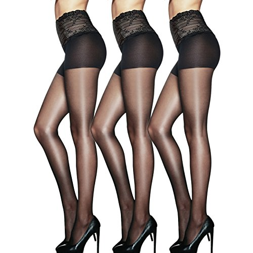c9fec76fdd2 Women s Pantyhose 15 Denier Sheer Tights Lace Design High Waist Solid Color