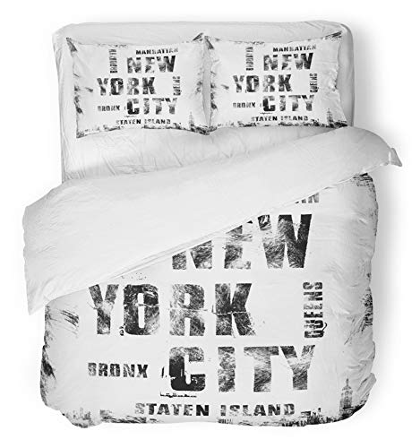 (Emvency 3 Piece Duvet Cover Set Brushed Microfiber Fabric Breathable America New York City Street Graphic NYC Label Emblem Stamp Handwritten Black Bedding Set with 2 Pillow Covers Full/Queen Size)