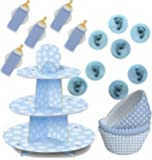 89 Teile Baby Shower Muffin Dekorations Backset Blau für bis zu 75 Cupcakes