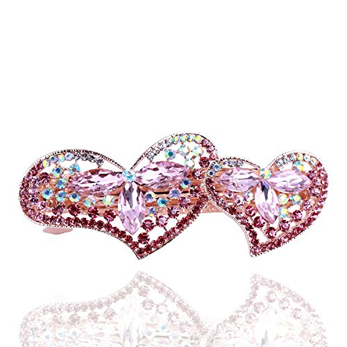Gold Heart Shaped Slide (So Beauty Sophisticated Double Peach Heart Shaped Crystal and Rhinestone Hair Barrette Clip Accessary Pink)