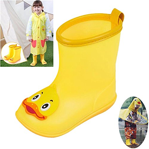 Yellow Duck Little Kids Rain Boots Children Rubber Waterproof Boot for Toddlers Boys/Girls (Yellow, Age:2-2.5 Years ()
