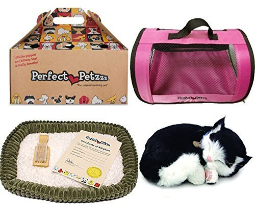 Black Kitten - Perfect Petzzz Black and White Shorthair Kitten Plush with Pink Tote For Plush Breathing Pet