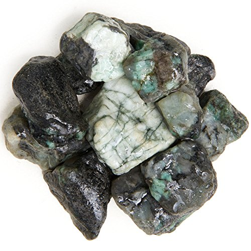 (Digging Dolls: 1 lb Emerald Rough Rocks from Brazil - Raw Natural Crystals and Stones for Arts, Crafts, Tumbling, Cabbing, Polishing, Wire Wrapping, Wicca and Reiki Crystal)