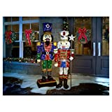 Home Accents Holiday 72 in. LED Tinsel Nutcracker and 5 ft. Pre-Lit Tinsel Nutcracker Soldier