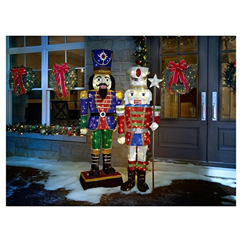 Home Accents Holiday 72 in. LED Tinsel Nutcracker and 5 ft. Pre-Lit Tinsel Nutcracker Soldier by Home Accents Holiday