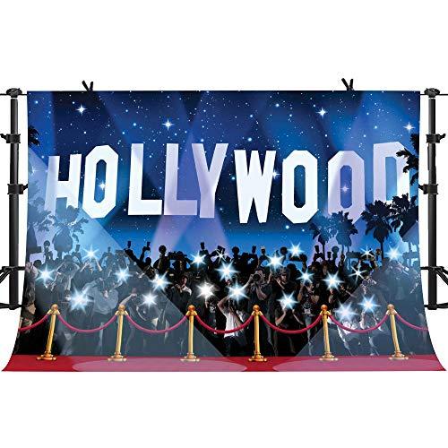 PHMOJEN 10x7ft Hollywood Red Carpet Backdrop Award Ceremony Photo Studio Background Celebration Party Photography YouTube Twitter Backdrop Props -