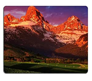 Beautiful Sunset Mountain Shadow Scenery Mouse Pads Customized Made to Order Support Ready 9 7/8 Inch (250mm) X 7 7/8 Inch (200mm) X 1/16 Inch (2mm) High Quality Eco Friendly Cloth with Neoprene Rubber MSD Mouse Pad Desktop Mousepad Laptop Mousepads Comfortable Computer Mouse Mat Cute Gaming Mouse pad