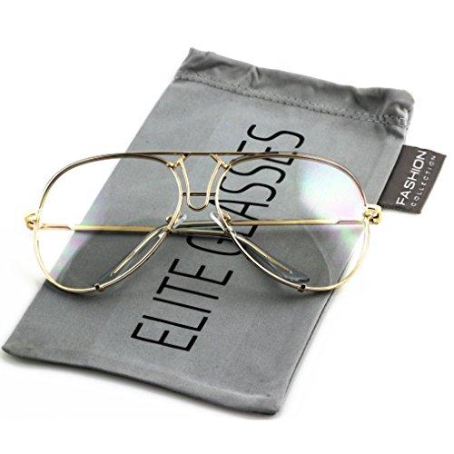 Aviator Poshe Oceanic Lens Twirl Metal Design Frames Sunglasses (Clear - Gold, ()