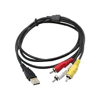 perfk Cable USB 3RCA, 1,5 M / 5 Pies USB Macho A Macho Divisor de Conector Cable AV de Audio Y Video Compuesto Adaptador para Televisores Y PC: Amazon.es: Industria, empresas y ciencia