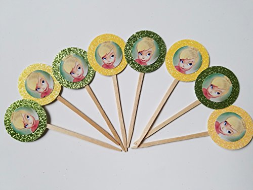 8 Tinkerbell Green Yellow Disney Fairies Cupcake Toppers Neverland Peter Pan Jake Pirates Birthday Party