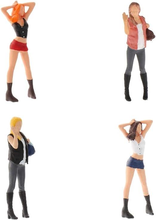 2x 1:64 Gemalte Miniatur Menschen Figuren Männer Frauen Puppen Park Architektur