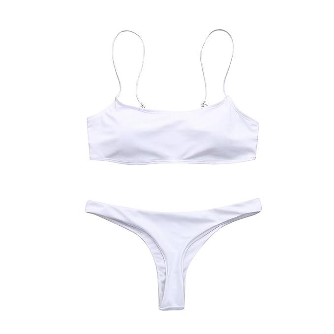 e3f9526d4ad2 Whitegeese Bikini Bandeau Bandage Bikini con Push-up Traje de baño ...