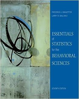 Essentials of statistics for the behavioral sciences 7th edition.