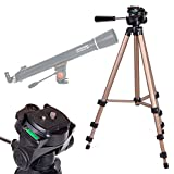 DURAGADGET Telescope Tripod with Extendable Legs and Ball-Tilt Head in Black & Gold Compatible With Celestron 21063 Astromaster 90AZ Telescope