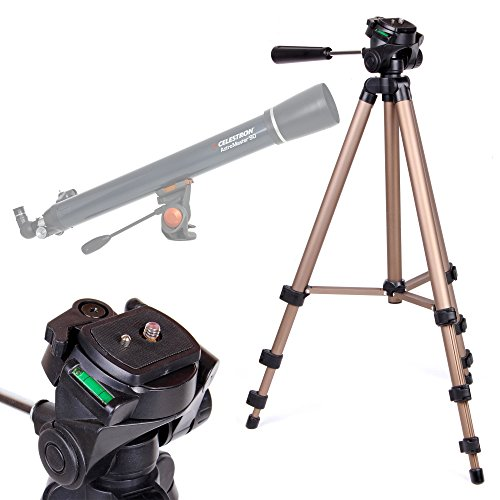 DURAGADGET Telescope Tripod with Extendable Legs and Ball-Tilt Head in Black & Gold Compatible With Celestron 21063 Astromaster 90AZ Telescope by DURAGADGET