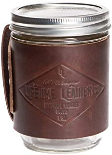 product image for Leather Cozie, Groomsmen Gift, Leather Mason Jar Sleeve, Beer Cozie, Gift for Men, Gift for Husband, Mason Jar Cozy, Mason Jar Holder