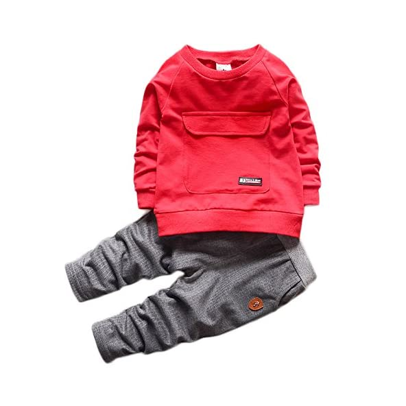 2016 Baby Boys Kids 2 Pieces Fall Clothing Set t-Shirt Pants Outfits(red,2-3 Years)