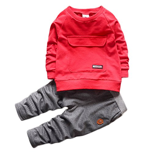 2016 Baby Boys Kids 2 Pieces Fall Clothing Set T-Shirt Pants Outfits(Red,1-2 years)