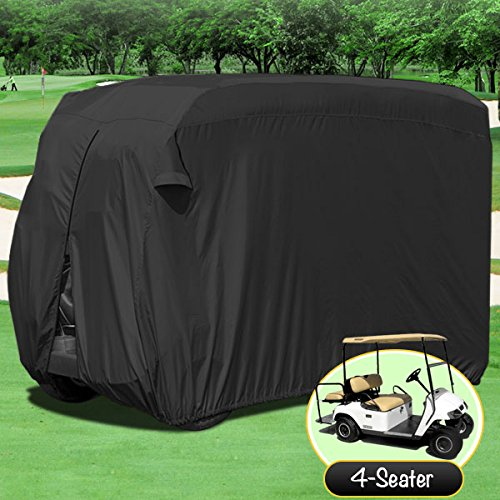 NEH-Waterproof-Superior-Black-Golf-Cart-Cover-Covers-Club-Car-EZGO-Yamaha-Fits-Most-Four-Person-Golf-Carts