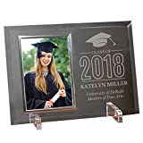 GiftsForYouNow Engraved Class of Cap Personalized Glass Picture Frame, Silver