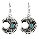 Hosaire Dangle Earrings Vintage Moon Pattern Tassel with Turquoise Eardrop Earrings Women's Jewelry