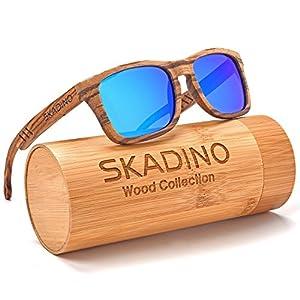 SKADINO Wood Sunglasses for Women&Men with Polarized lenses-Handmade Floating Wood Shade-Zebra Wood S1057C04