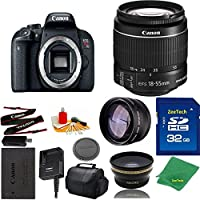 Great Value Bundle for T7I DSLR – 18-55mm STM + 32GB Memory + Wide Angle + Telephoto Lens + Case