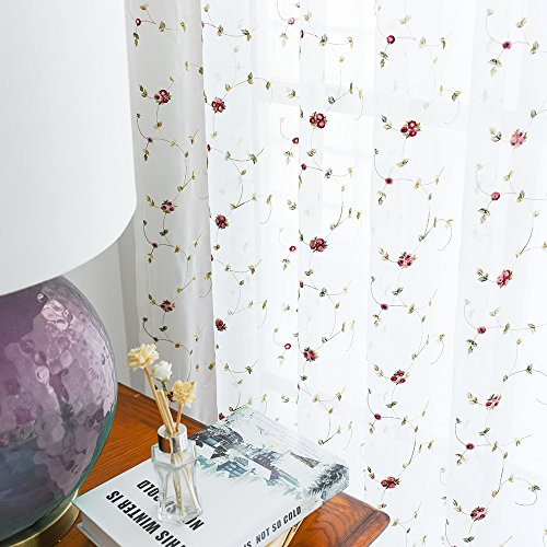 Red Floral Curtains - Sheer Curtains Floral Embroidered Curtains for Bedroom 63 inches Length Red Rose Buds on White Rod Pocket Voile Panels for Living Room