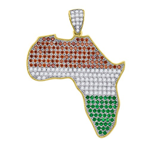 Yellow-tone Sterling Silver Mens Round Cubic Zirconia CZ Africa Map Charm Pendant by Saris and Things